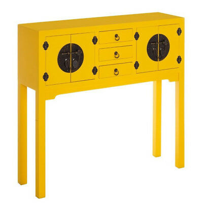 MOBILE INGRESSO CINESE GIALLO CONSOLLE ORIENTALE GIAPPONESE Vintage Shabby Chic