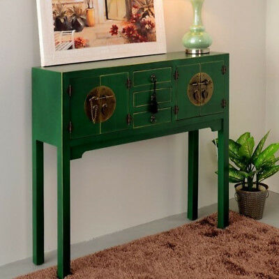 CONSOLLE INGRESSO CINESE GIAPPONESE ORIENTALE VERDE SHABBY CHIC Mobili etnici