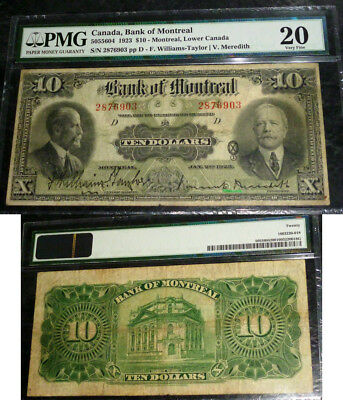 The Bank of Montreal $10 1923 PMG VF20