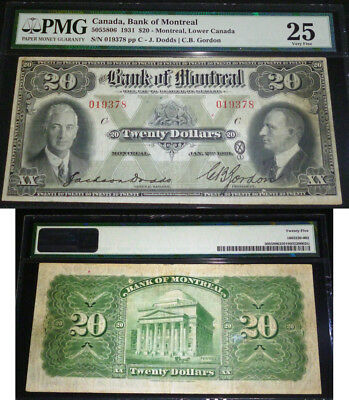 The Bank of Montreal $20 1931 PMG VF25