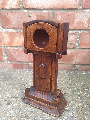 Antique Novelty Wooden Grandfather Clock Pocket Watch Holder Stand
