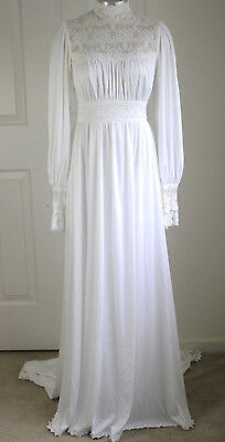 Antique Victorian Bridal Gown w/ Train Wedding Dress High Lace Collar Costume