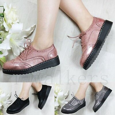 Ladies Diamante Platform Flats Lace Up Loafers Brogues Creepers Pumps Shoes Size