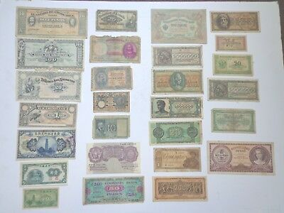 Vintage Foreign Paper Money Currency Misc Lot Of 27 Italy Greece China More
