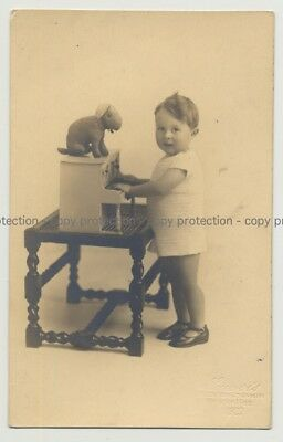 Baby Girl W. Toy Piano & Stuffed Rabbit (Vintage Real Photo PC 20s/30s)