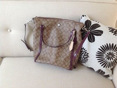 Coach Peyton Signature Convertible Shoulder Bag G1361-F24601 Khaki/Plum NWOT