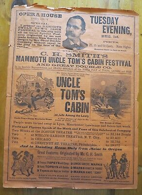 1890 Uncle Tom's Cabin Play Bill, Hand Bill, Advertisement,