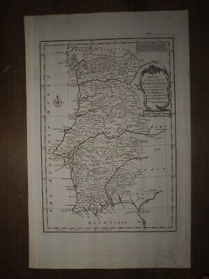 1766 A New And Accurate Map Of Portugal By Emanuel Bowen Lisbon Lisboa