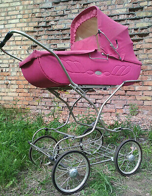 Vintage Original Soviet Ussr Pink Baby Carriage