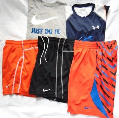 Lot of (5) Youth Boys UNDER ARMOUR & NIKE Shirts & Shorts Sz L