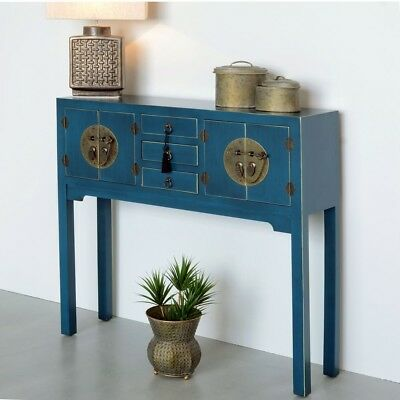 TAVOLO CONSOLLE ORIENTALE CINESE AZZURRO GIAPPONESE ETNICA VINTAGE Mobili chic
