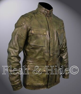 Genuine Waxed Sheepskin Leather Benjamin Button Brad Pitt Motorcycle Coat