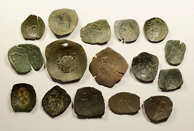 Lot Of 16 Ancient Byzantine Cup Coins - 019