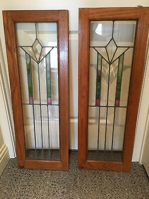 Antique Pair Set Stained Leaded Glass Window Panel Architectural Beveled