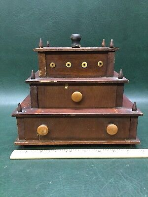 Rare Antique 1800's Shaker Style Wooden Three-Tier Sewing Box w/ Bone Eyelets