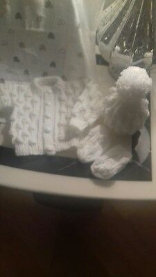 Newborn boys handkitted cardigan hat and mitt set