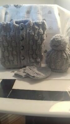 Newborn boys hand knitted  cardigan hat and mitt set