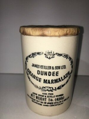 Vintage Dundee Orange Marmalade Jar Crock Stoneware James Keiller Sons 16oz 1lb