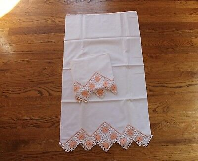 Bed & Breakfast Downsizing /peach & White Floral Crochet Pillow Cases