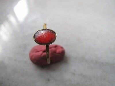 Antique  Medieval Ancient Bronze ring with Red glass stone