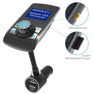 Bluetooth FM Transmitter Radio Adapter with LCD Display and USB Car Charger