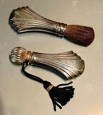 TOWLE STERLING SILVER SET Art Deco Makeup Brush and Perfume Bottle