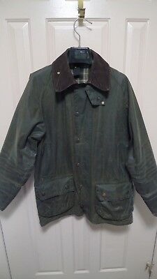 Barbour - A150 Beaufort Waxed Cotton Jacket-Sage-Made@ Uk-Shabby Chic--Size 38