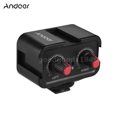 Andoer Dual-Channel DSLR Microphone Audio Mixer Mixing Adapter for Canon Camera