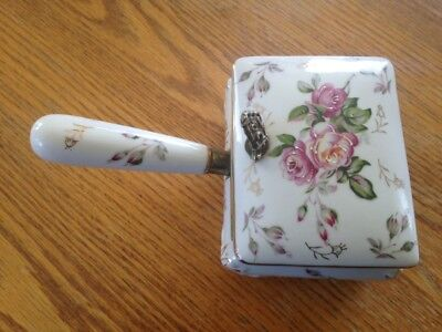 Vintage Floral TRINKET BOX WITH HANDLE  Made in Japan