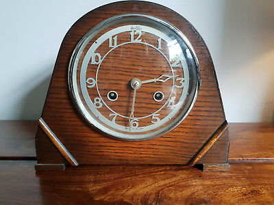 Antique 1930's Art Deco Bentima Oak Mantle Clock with Original Pendulum (Vintage