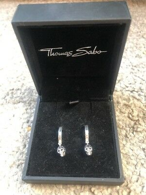 Thomas Sabo Sterling Silver Hoop Earrings Skull, Rebel at Heart, Black CZ, Boxed