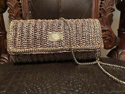 100% Handmade Crochet L.A By Lola Alvora Metallic Straw Beige Clutch Bag Handbag