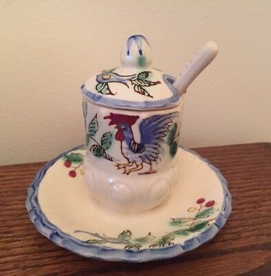 Vintage Nasco Hand Painted Blue Rooster Lidded Condiment & Spoon Set