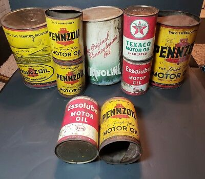 Collection of Vintage Motor Oil Cans Pennzoil Texaco Valvoline 1 and 5 Qt