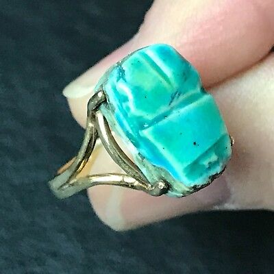 Vintage10 K Gold Faience Scarab Pinky Ring Size 4.5, Egyptian Revival Art Deco