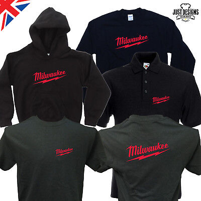 Milwaukee Black T-shirt Zipped Hoodie Polo Shirt Jumper Vest S-5XL Power Tools