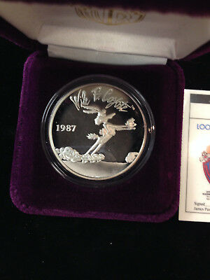 1987  Looney Tunes WILEY COYOTE 1 Ounce .999 Silver w/Box Limited!