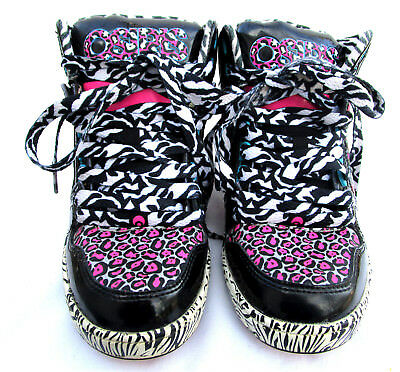 OSIRIS Sz 3M Skate Board Shoes High Top Patent Leather Pink Black Fancy Laces