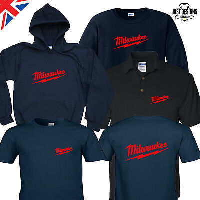 Milwaukee Navy T-shirt Hoodie Polo Shirt Jumper S-5XL Power Tools Adults Kids