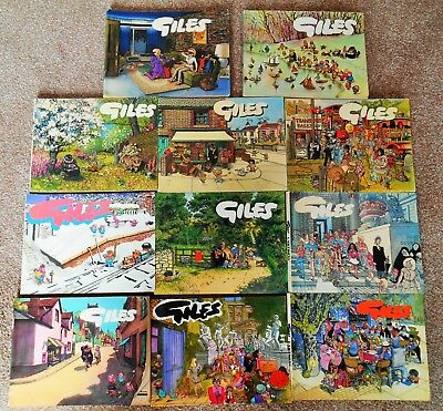 NICE COLLECTION OF 11 GILES CARTOON ANNUALS, 60'S TO 80's