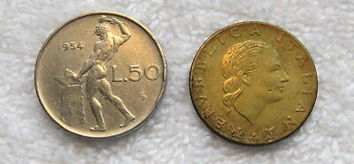 Lot Of Two (2) Italian Coins Including A 1954 50 Lira (First Date Of Issue)