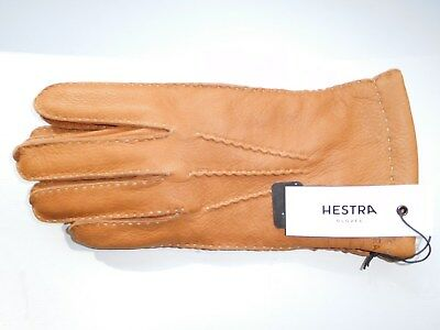 Hestra Men's 100% Leather Luggage Brown Gloves Size 8-Medium New With Tags
