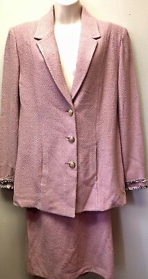 New St. John Collection Marie Gray Womens Sz 12 Pink Knit Blazer 2 Pc Skirt Suit