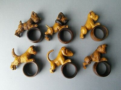 Black Forest Carved Wood Dogs Napkin Rings.