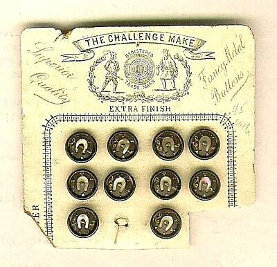 10 Victorian Metal Horseshoe Buttons w/ Pearl back grounds on Card