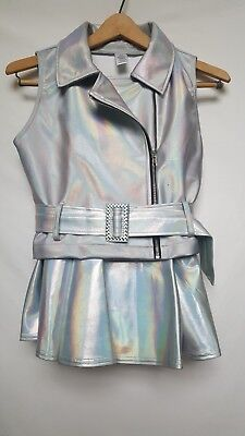 Womens Small Silver Dance Top, Skirt, And Bra