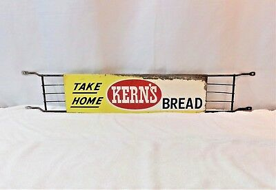 "1940-50's KERN'S Bread Door Push Bar Original Country Store Sign 31"" x 5"""
