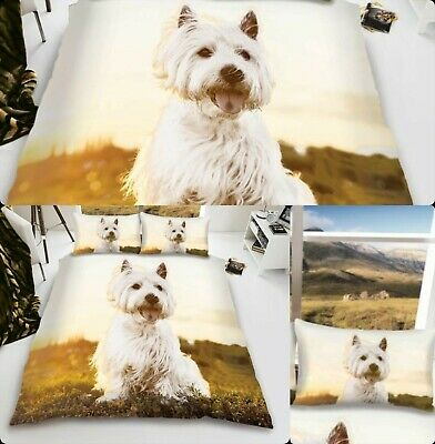 Duvet Cover Quilt Cover 3D Effect Westie Printed Poly-Cotton Single Double King