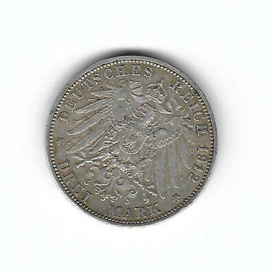 Germany:3 mark 1912g silver crown size VF uncleaned(see scans)