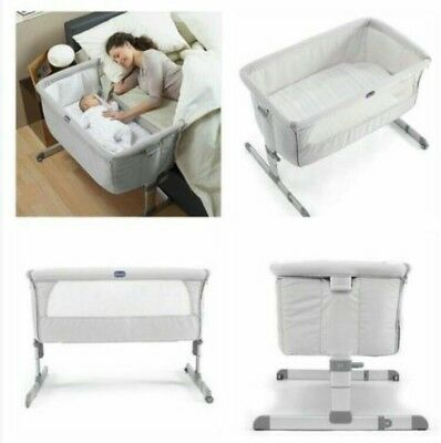 Next2me crib grey silver chicco baby co sleeping cot bedside next to me
